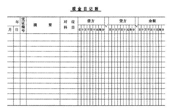 现金日记账格式