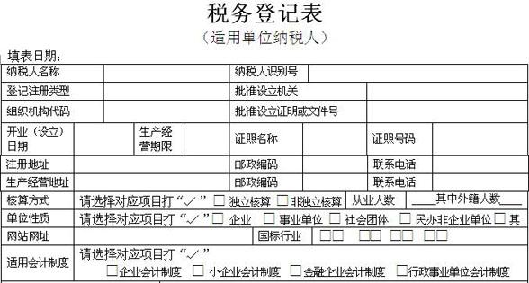 税务登记表范本