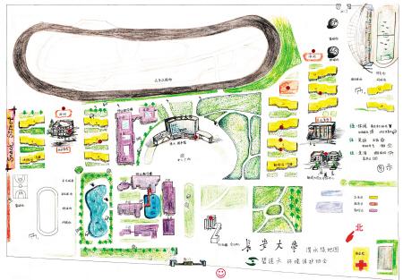大学生手绘陕西高校绿地图