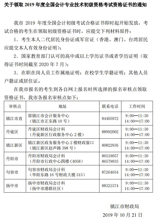 2019年江苏省镇江市初级会计证书领取的通知