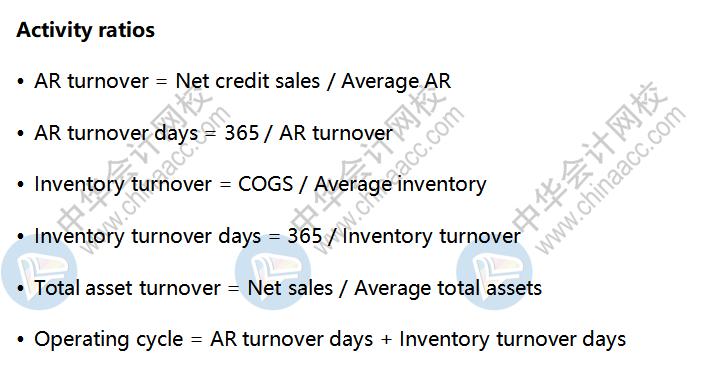 AICPA考点解析:Activity ratios