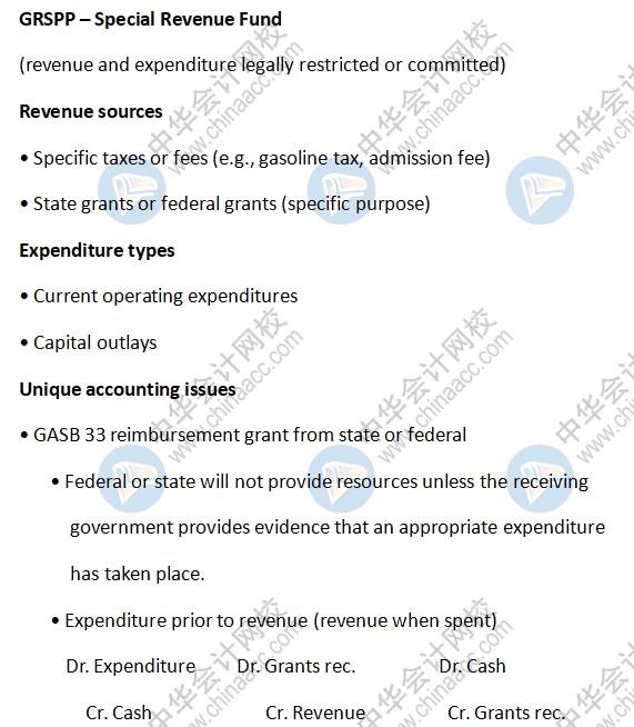 AICPA知识点:GRSPP – Special Revenue Fund