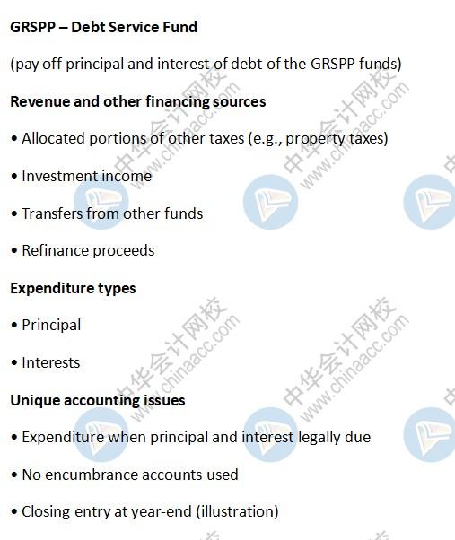 AICPA知识点:GRSPP – Debt Service Fund