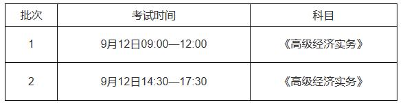 宁夏高级经济师考试时间安排