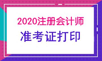 自贡2020年注会准考证打印时间