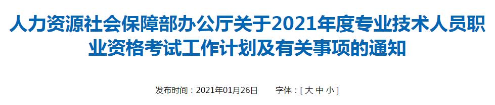 关于2021年专业技术人员职业资格考试工作计划及有关事项的通知