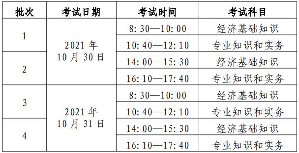 中级经济师考试时间